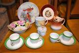 Lefton China Plates, Noritake Bowl, Czech Stag Creamer, Mustache Cup