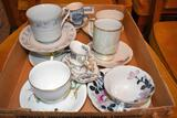 Assortment of Bone China Cups and Saucers