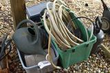 Garden hose, sprayer, watering can, cooler and whirly bird