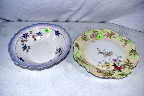 Hand painted bowl and hand painted plate