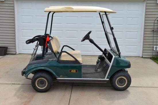 2009 Club Car 48 Ingersall Rand Golf Cart, Canopy, Full Windshield, Lights, 2 Seats, Gas Engine