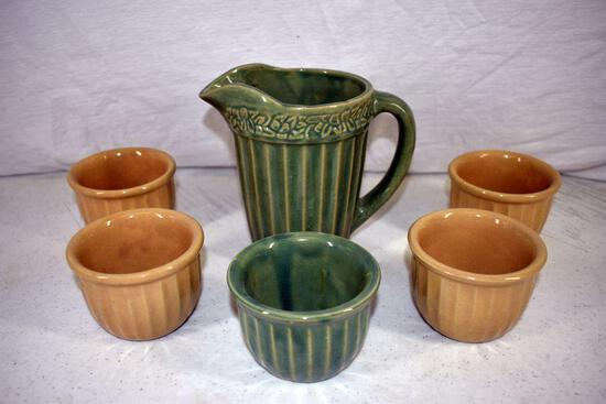 Stoneware pitcher and 5 bowls