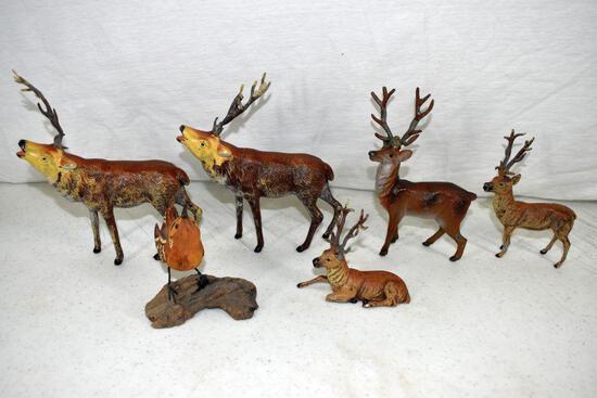 Assortment of metal elk and reindeer