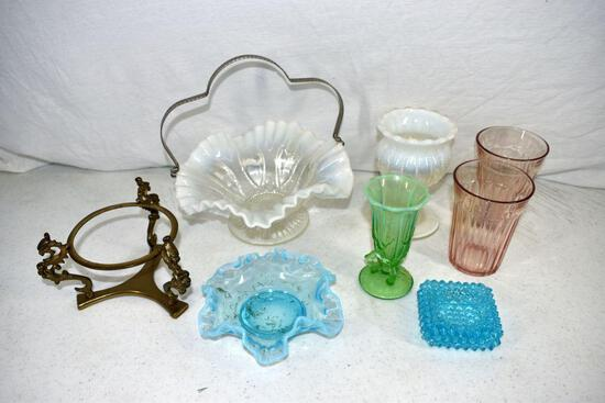 Opalescent brides basket and other glassware