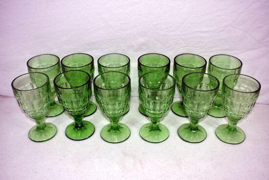 12 Green depression goblets