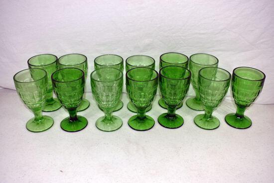 13 Green depression goblets