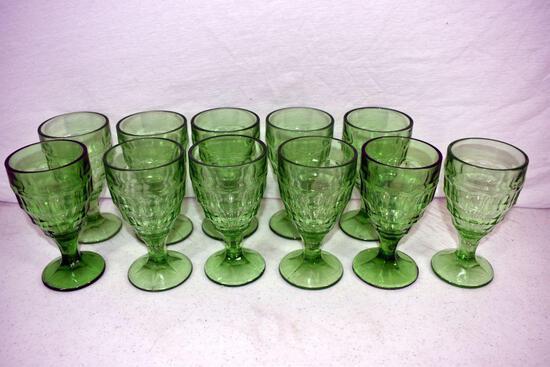 11 Green depression goblets
