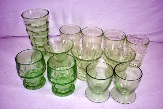 Green depression vase, 3 sherbets, 4 water glasses, and an assortment