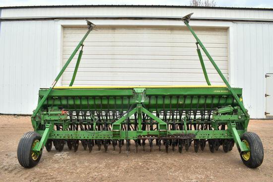 "John Deere 515 Grain Drill, 15', 7.5"" Spacing, 3pt., Press Wheel, Hyd. Markers, Grass Seeder"