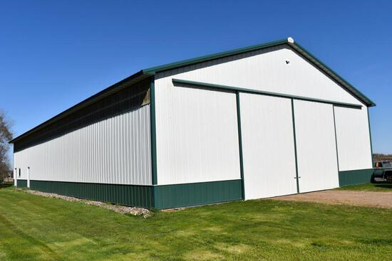2007 Wick Pole Shed 54' x 108' x 16', With 24' Sliding Doors, Trusses Are Bolted, White & Green.