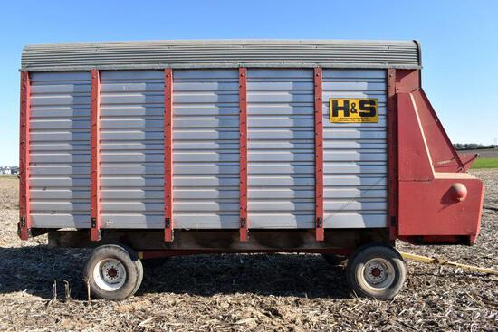 H & S 7+4 Steel Forage Box, 16' With New Holland 8 Ton Running Gear