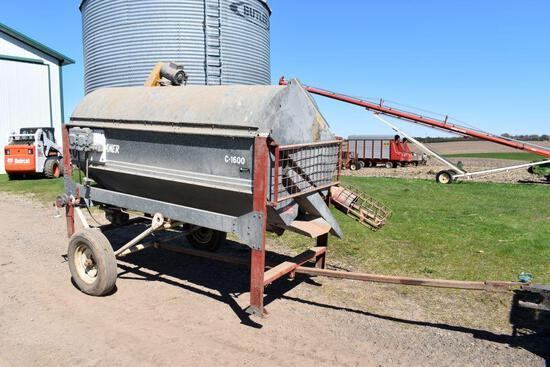 """Hutchinson C-1600 Grain Screener, 36"""" Drum, 1hp Drum Motor, 2hp Fill Auger Motor"""