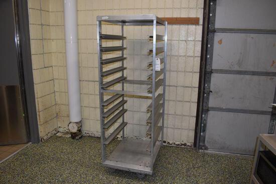 """Aluminum Wheeled Rack, No Shelf, 23' wide x 28"""" deep x 69"""" high"""