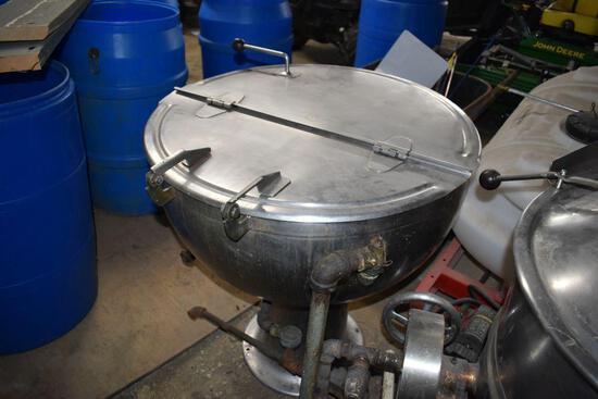 "Groen Stainless Steel Round Steam Boiler, 34"" x 36"" tall, 1 1/2"" drain"