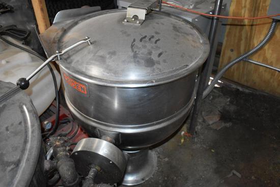 "Groen Stainless Steel Round Steam Boiler, No Drain, Dumping, 28"" x 39"" tall"