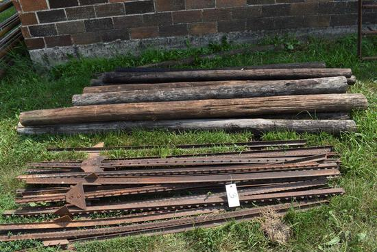 Metal T-Post and Wooden Fence Post