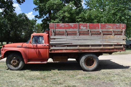 1964 Ford F600 Single Axle Truck, V8 Gas, 4 x 2 Speed, 85,648 Miles, 13' Wooden Box & Hoist