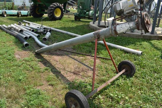 """Hutchinson 10'x6"""" Auger with 2HP motor, on transport"""
