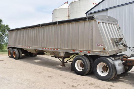 """2011 Dakota Aluminum Hopper Bottom Grain Trailer, 38'x 96""""x66"""", Ag Hoppers, Roll Tarp, Spring Ride"""