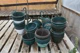 Assorted used hanging plastic pots, located in GH 52