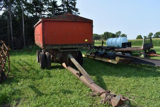 16' Grain box trailer pup, with hoist, tandem axle, needs work