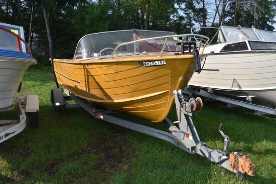 1964 Star Craft 21' Aluminum boat With Mercury 1000 motor, Evinrude 25hp tiller motor, non