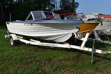 1975 Cris Craft 17' Fiberglass boat with Johnson 115 hp motor and Spartan single axle roller