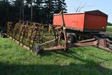 9 Section Coil Tine drag on cart, 5' sections, no hydraulic cylinder, needs new tires