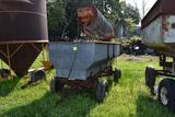 Galvanized flair box with SnoCo grain screener mounted, and running gear