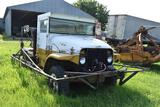 2 Ton Military 4 x 4 truck with spray booms and no tank, manual transmission, V8 gas, non running