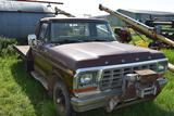 1979 Ford F150 Custom with steel 8.5' flatbed, 4x4, auto, front winch, 5.8 liter V8, 161wyw, 7-19