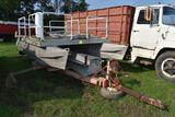 Pontoon Boat with 10' deck, no motor with single axle trailer