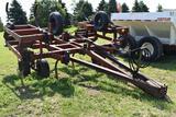 Hiniker 13 shank chisel plow, 20' full frame, 18' working width, hydraulic wing fold, gauge wheels,
