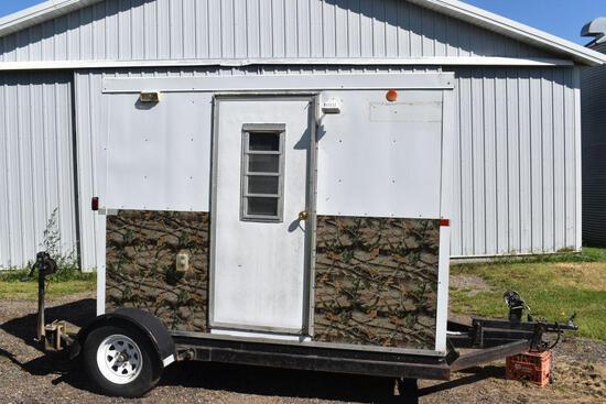 Shop Built Ice House, 6'x9.5', 4 Hole, Single Axle, Crank Up & Down, 12 Volt Heater, 110 Volt Lights