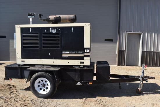 Kohler Power System 50 Portable Generator On Single Axle Trailer, 4039 JD Diesel Engine,
