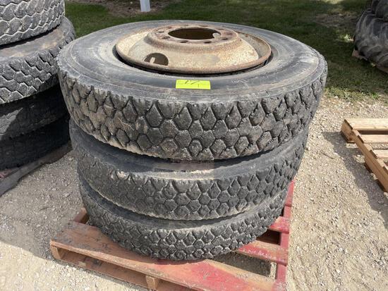 (3) 11R24.5 Semi Tires on Steel 10 Bolt Rims, Not Beaded