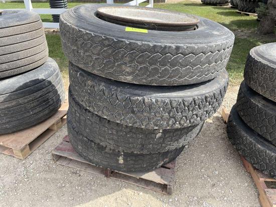 (4) 11R24.5 Semi Tires On Steel 10 Bolt Rims, Not Beaded
