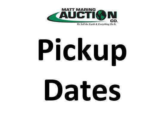 Pick Up Dates & Location