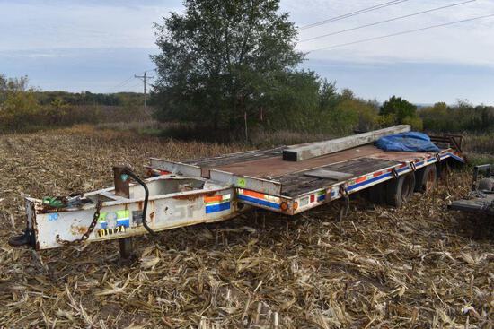 1992 Butler Deck Over Trailer, Tandem Axle Duals, Pintle Hitch, 18' Plus 5' Dovetail, Ramps, GVW