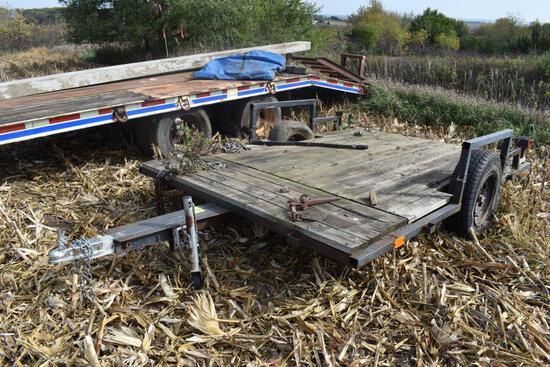 10' x 7' Single Axle Utility Trailer, Wood Deck, No Title