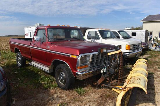 1978 Ford F250 Ranger Pickup, Auto, 4x4, 19,648 Miles Showing, With 7 1/2 ft Plow, small block