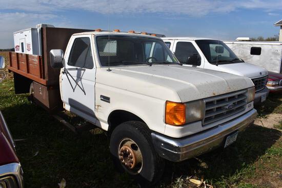 1990 Ford Super Duty Custom Pickup, Dually, 11 ft Steel Flatbed w/ Hoist, Auto, 122,077 Miles