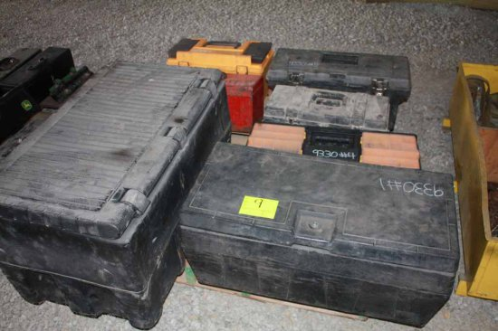 Assortment of 8 Tool Boxes and Plastic Totes