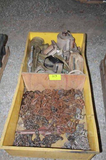 Assortment of Nylon Ratchet Straps and Log Chains