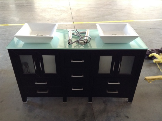 Walcut 60Inch Black Bathroom Vanity and Sink Combo Modern Cabinet Double Glass Vessel Sink and Fauce