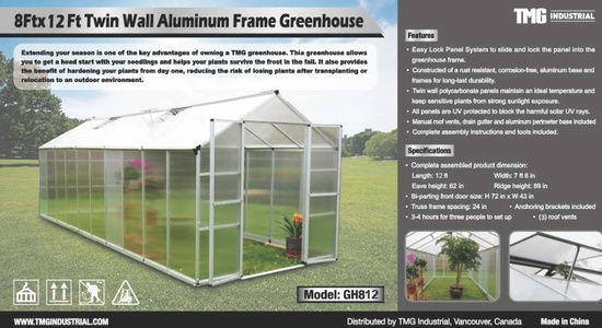 8Ft x 12Ft Twin Wall Green House