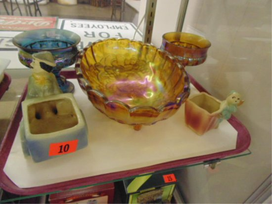 TRAY OF CARNIVAL GLASS AND SHAWNEE PLANTERS.