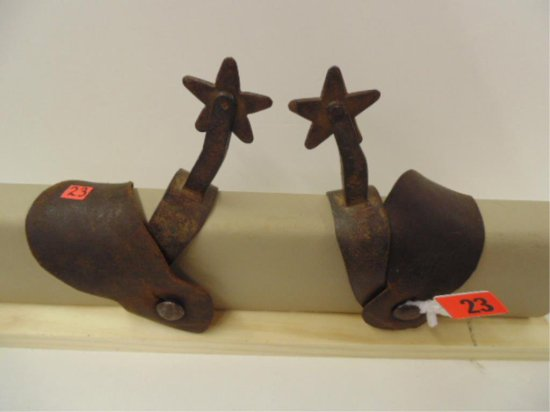 PAIR OF UNMARKED HANDMADE ONE PIECE SPURS WITH 5