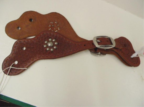 PAIR OF MARKED AUGIE BJORKLUN SPUR LEATHERS WITH