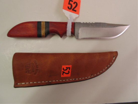 """ANZA FIXED BLADE KNIFE WITH 3 1/2"""" BLADE, WOODEN"""